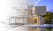 Leinwanddruck Bild - Design stages of luxury villa