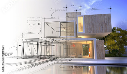 Design stages of luxury villa - fototapety na wymiar