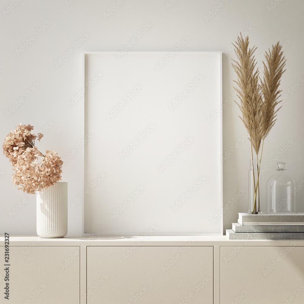 Fototapeta mock up poster frame in modern interior background, Scandinavian style, 3D render, 3D illustration