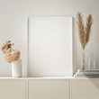 canvas print picture - mock up poster frame in modern interior background, Scandinavian style, 3D render, 3D illustration
