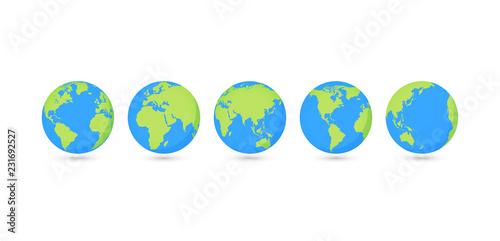 Fotografie, Tablou Globes set collection. Vector illustration. On white background.