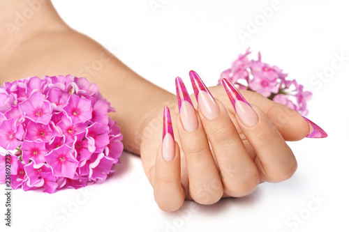 Keuken foto achterwand Manicure French manicure with pink flower