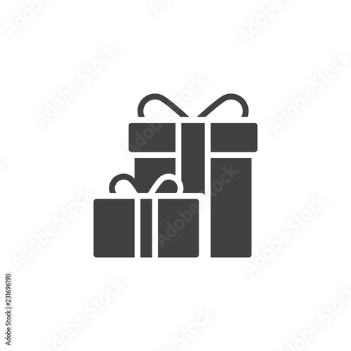 Gift boxes with bow ribbon vector icon. filled flat sign for mobile concept  and web design. Present box simple solid icon. Symbol 888b8965fcd0a