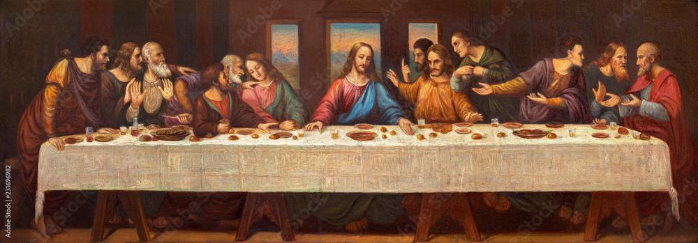 Fototapeta PRAGUE, CZECH REPUBLIC - OCTOBER 13, 2018: The fresco of Last Supper in church kostel Svatého Václava by S. G. Rudl (1900).