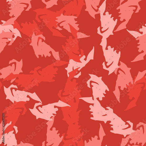 Poster Geometrische dieren Imitation of camouflage - seamless pattern in different shades of red and pink colors