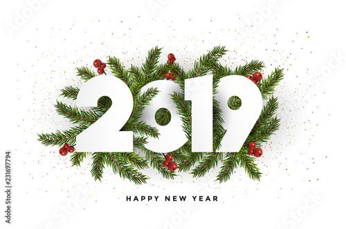 Obraz Holiday New year card  2019 - fir branches - fototapety do salonu