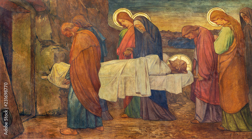 PRAGUE, CZECH REPUBLIC - OCTOBER 13, 2018: The fresco of Burial of Jesus in church kostel Svatého Václava by S Canvas Print