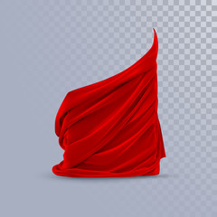 Red silky fabric. Abstract background.