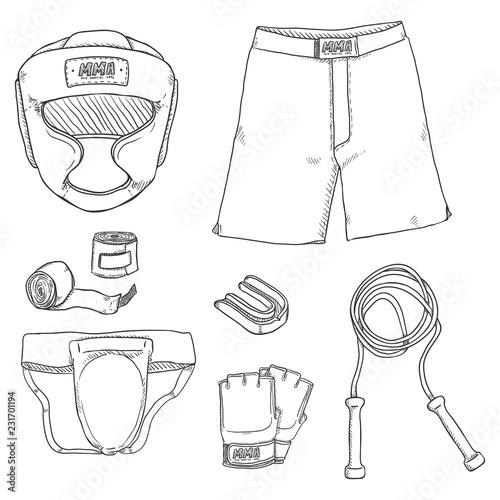 Fotografía  Vector Set of Sketch MMA Training Equipment. Fightwear Outfit.