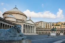 Church San Francesco Di Paola On Piazza Del Plebiscito In Naples, Italy