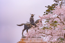 A Statue Of Masamune Date On H...