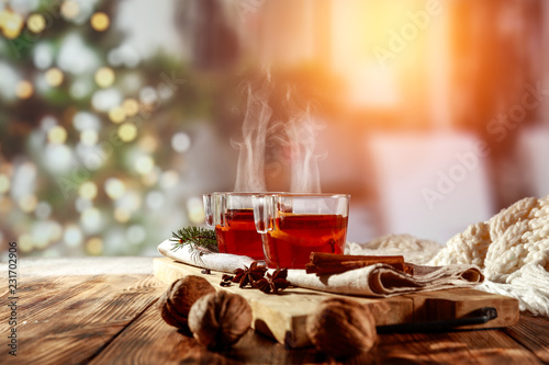 Mulled on desk and winter time