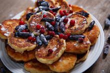 Delicious Breakfast Pancakes With Wild Berries.