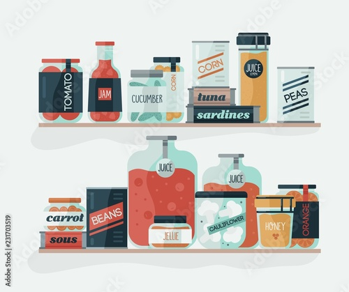 Fototapety, obrazy: Glass jars and cans with pickled vegetables on shelves. Delicious canned food, organic nutrition, homemade preserves, home preservation. Colorful vector illustration in modern flat cartoon style.