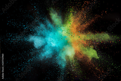 Fotografie, Obraz  Colored powder explosion on black background.