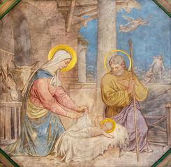 Panel Szklany Do kościoła PRAGUE, CZECH REPUBLIC - OCTOBER 17, 2018: The fresco of Nativity the in church kostel Svatého Cyrila Metodeje by Petr Maixner (1872).