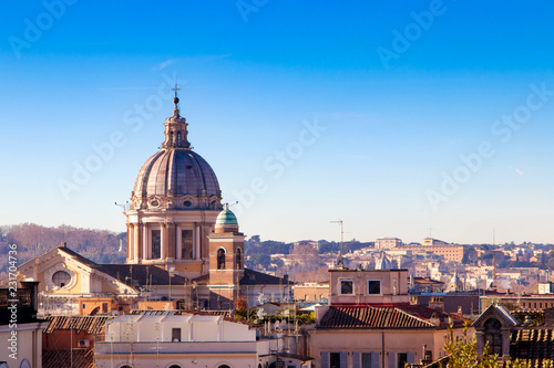 In de dag Madrid Aerial view of the Rome Italy. Beautiful cityscape view of Rome skyline from hilltop.