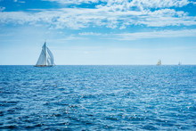 """""""Vintage Sails 2018"""", Imperia, Italy, 6 September 2018, Historical Regatta With Historical Sailing Boats In The Ligurian Sea"""