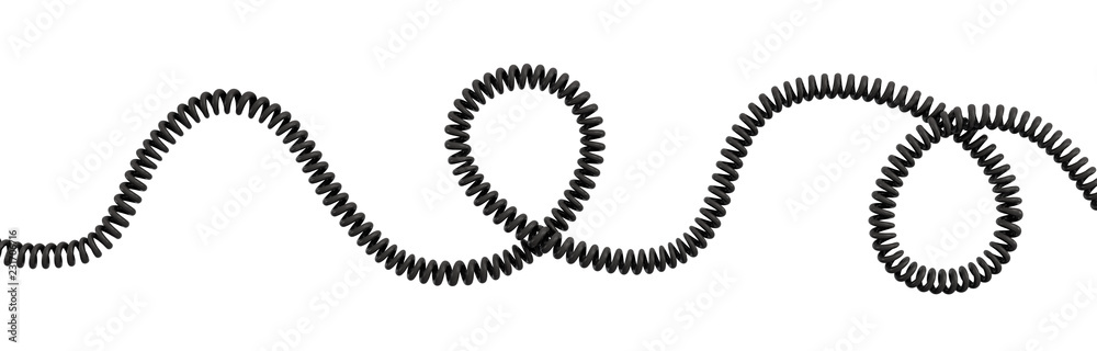 Fototapeta 3d rendering of a single curved spiral cable lying on a white background.
