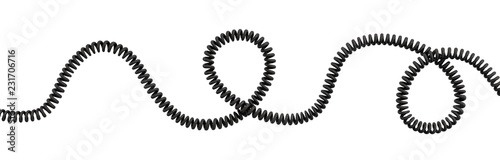 3d rendering of a single curved spiral cable lying on a white background Fototapete