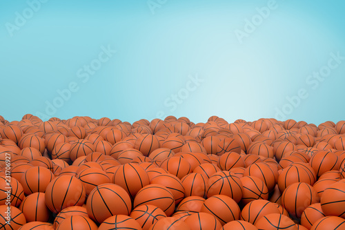 3d rendering of endless pile of orange basketball balls with black stripes lying in heap on a blue background Fototapeta