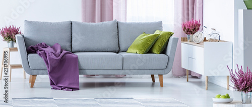 Leinwand Poster Grey couch with purple blanket and green pillows in real photo of white sitting