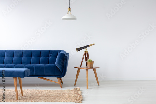 Blue velvet couch next to wooden coffee table with cactus in ...