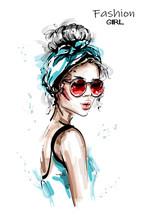 Hand Drawn Beautiful Young Woman With Headband. Stylish Elegant Girl In Sunglasses. Fashion Woman Portrait. Sketch.