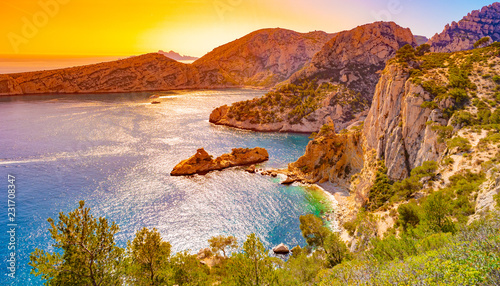 Poster de jardin Orange Calanque at les Calanques national park in France