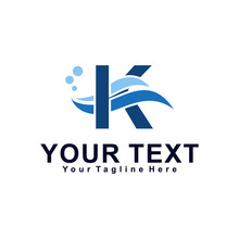 Letter K Or Wave Logo Design Concept, Creative Water Logo Template