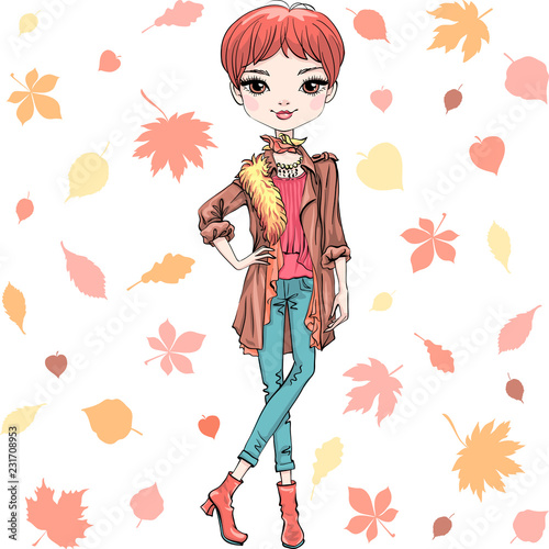Fotografie, Obraz  Vector beautiful fashion hipster girl top model in autumn clothes, headscarf and