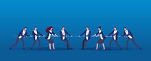 Team War. Business People Rivals Pulling Rope. Competition, Conflict In Office Vector Concept. Illustration Of People Conflict In Business Team