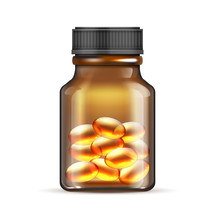 Realistic Brown Glass Bottle With Fish Oil, Omega 3 Vitamin Capsules Isolated On White Background. Glass Bottle With Fish Oil Tablet. Vector Illustration