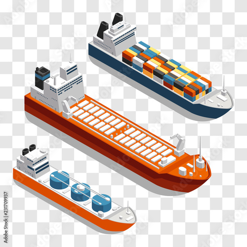 Fototapeta Modern cargo ships isometric vector design. Set of transportation ships isolated on transparent background. 3d ship freight in sea, shipping and logistic marine transportation illustration obraz