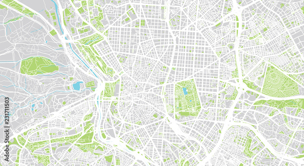 Urban vector city map of Madrid, Spain Foto, Poster ...