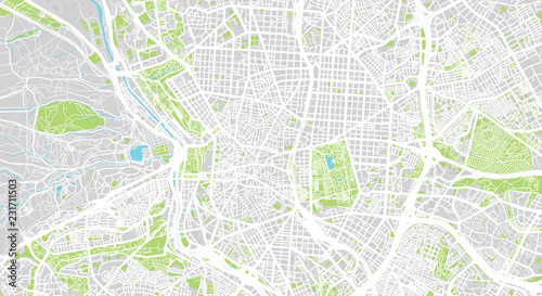 Fotografering Urban vector city map of Madrid, Spain