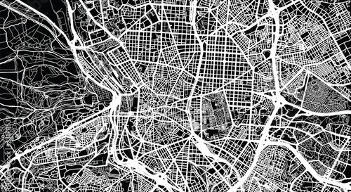 Urban vector city map of Madrid, Spain Billede på lærred