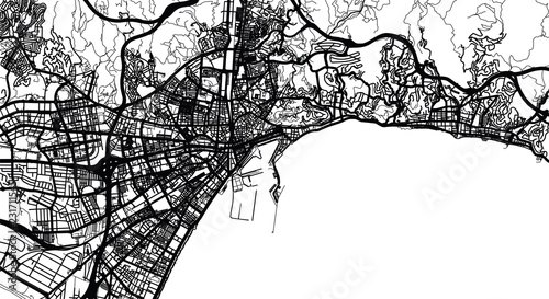 Fotografía Urban vector city map of Malaga, Spain