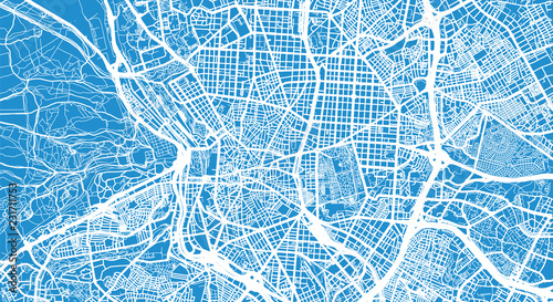 Urban vector city map of Madrid, Spain Fototapet