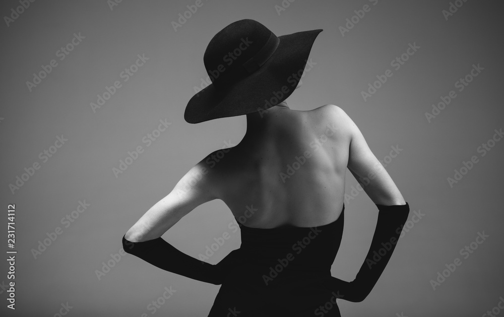 Fototapeta Retro styled woman in black and white
