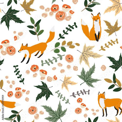 lisy-i-jesienne-liscie-klonu-pomaranczowy-kwiaty-biale-tlo-wektor-wzor-ilustracja-kwiatowy-projekt-natury-swieto-dziekczynienia