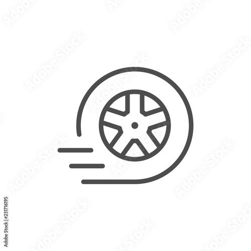 Fotografía  Car wheel line icon