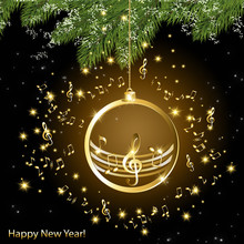New Year Card With Music Background