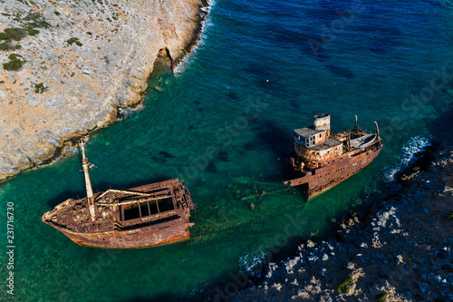Fotografía aerial view of Shipwreck Olympia in Amorgos island, Cyclades, Greece