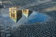canvas print picture - Spiegelbild der Türme des St. Paulus-Domes in einer Wasserpfütze, Münster, Westfalen, Deutschland