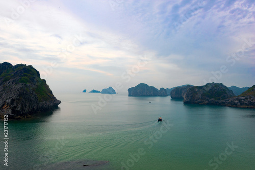 Ha Long Bay with its spikes and islands