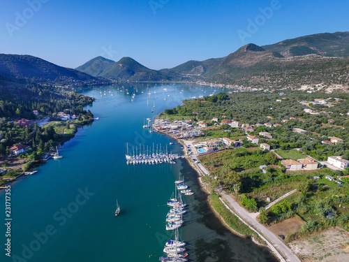 Foto auf Leinwand Khaki Aerial image of Nidri on the island of Lefkas Greece