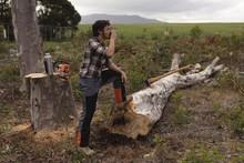 Lumberjack Having A Glass Of Water