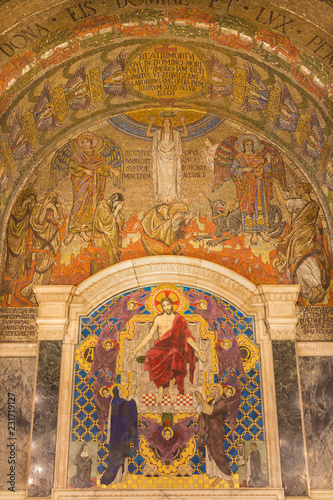 LONDON, GREAT BRITAIN - SEPTEMBER 17, 2017: The tyled mosaic of Jesus Christ the Pantokrator in Westminster cathedral designed by Clayton & Bell (begin of 20. cent.).