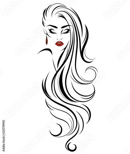 Fotografie, Obraz  women long hair style icon, logo women on white background